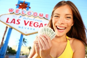 happy-woman-las-vegas-sign