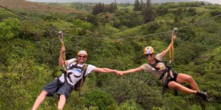 Couple-ziplining