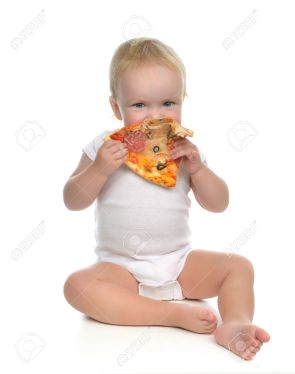 Infant child baby toddler sitting enjoy eating slice of pepperon