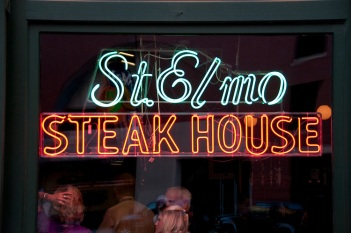 USA, Indiana, Indianapolis food, shrimp and steaks at St. Elmo Steak House.